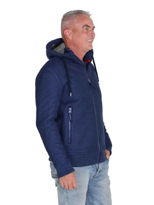 Gebreid Vest Heren Borgvoering Donkerblauw - M-4XL - TORRE
