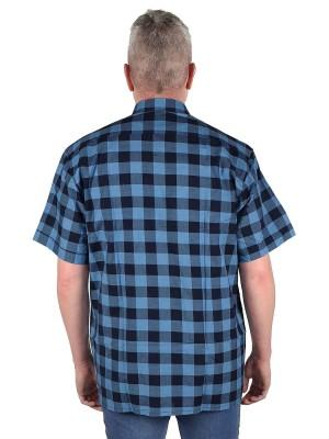 STØRVIK Werkblouse Korte Mouw Heren Blauw Geblokt - Maat M-4XL - FARSUND
