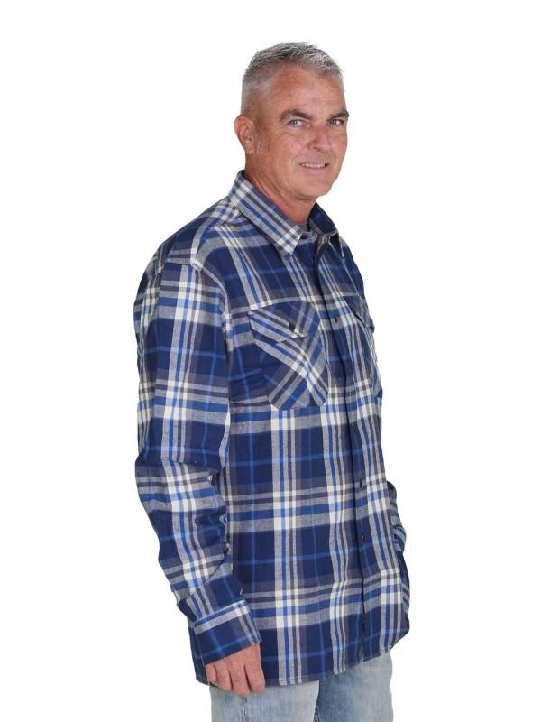 Flanellen Blouse Heren Katoen Donkerblauw - S-6XL - DAWSON