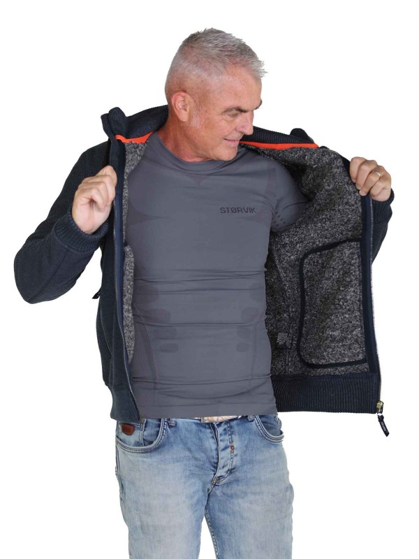 Gebreid Vest Heren Borgvoering Staalblauw - M-4XL - TORRE