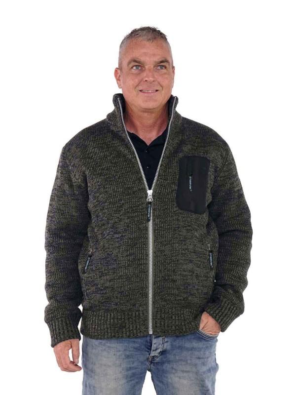 Gebreid Vest Heren Acryl Olijfgroen - S-4XL - EDEN