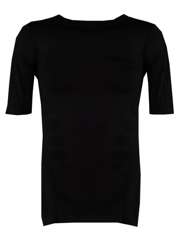 Zwart thermoshirt met korte mouw